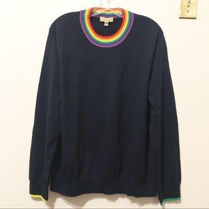 Burberry Rainbow-Neck Merino Wool Sweater.